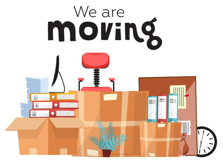 """illustration of moving boxes with """"We are moving"""" text at the top"""