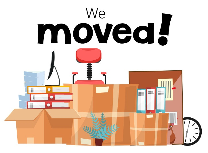 """illustration of moving boxes with """"We moved"""" text at the top"""